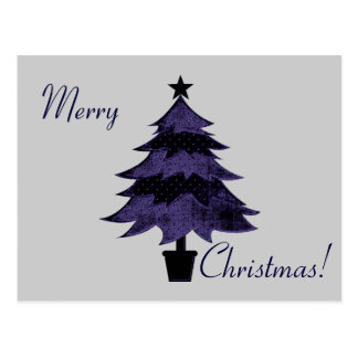 """""""Merry Christmas!"""" - Tree In Shades of Blue Postcard"""