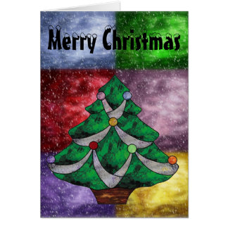 Merry Christmas Tree in Stained Glass Card