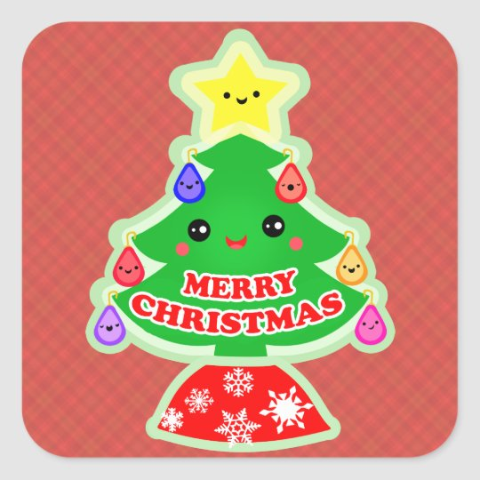 Merry Christmas Tree Kawaii Gift Stickers
