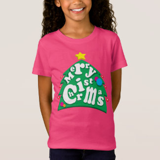 Merry Christmas Tree Letters T-Shirt