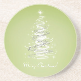 Merry Christmas tree lime green Coaster