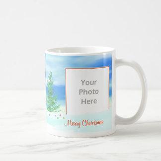 Merry Christmas Tree Morning 2-Photo Frame Basic White Mug