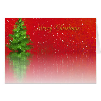 Merry Christmas tree on icy lake with snow card
