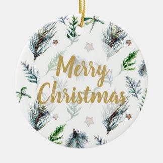 Merry christmas tree ornament mistletoe pine