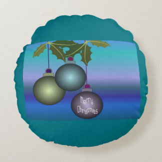 Merry Christmas Tree Ornaments Round Pillow
