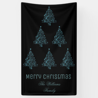 Merry Christmas Tree Pattern Metallic Blue Black Banner