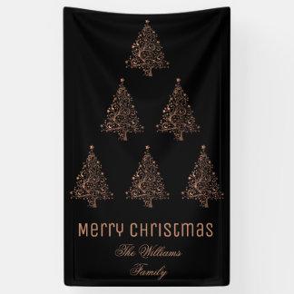 Merry Christmas Tree Pattern Metallic Brown Copper Banner