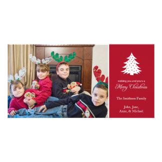 Merry Christmas Tree Photo Cards (Burgandy Red)