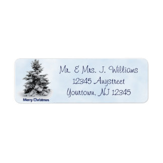 Merry Christmas Tree Return Address Label