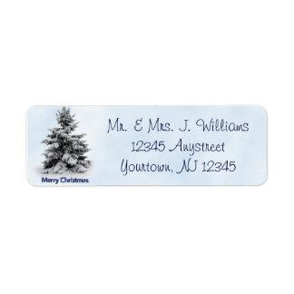 Merry Christmas Tree Return Address Label