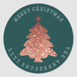 Merry Christmas Tree Rose Gold Cali Green Classic Round Sticker