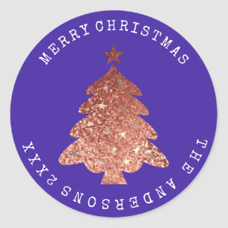 Merry Christmas Tree Rose Gold Cobalt Blue Classic Round Sticker