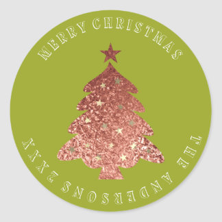 Merry Christmas Tree Rose Gold Green Pea Classic Round Sticker