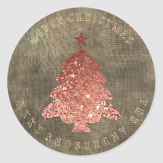 Merry Christmas Tree Rose Gold Linen Grungy Classic Round Sticker