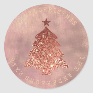 Merry Christmas Tree Rose Gold Linen Sepia Classic Round Sticker