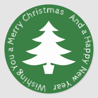 Merry Christmas Tree Round Sticker