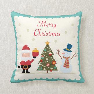 Merry Christmas Tree Snowman Santa Claus Throw Pillow
