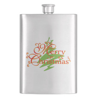 Merry Christmas Tree Star Greeting Playing Cards Flask
