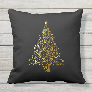 Merry Christmas Tree Stars Black Gold Shiny Chic Outdoor Pillow