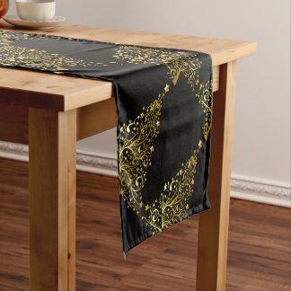 Merry Christmas Tree Stars Black Gold Shiny Chic Short Table Runner