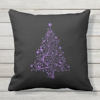 Merry Christmas Tree Stars Black Metallic Purple Outdoor Pillow
