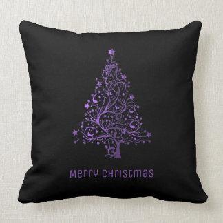 Merry Christmas Tree Stars Black Metallic Purple Throw Pillow