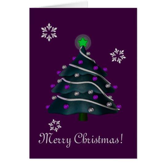 """Merry Christmas!"" - Tree w/ Silver & Purple Decor Card"