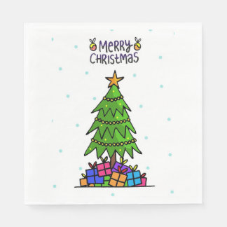 Merry Christmas, Tree with Gifts Paper Napkins