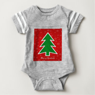 Merry Christmas Tree With Snowflake Baby Bodysuit