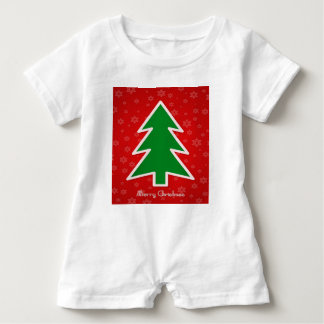 Merry Christmas Tree With Snowflake Baby Romper