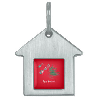Merry Christmas Tree with Snowflakes Pet ID Pet Tag