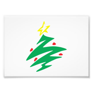 Merry Christmas Tree with Star Greeting Cards Mugs Photographic Print