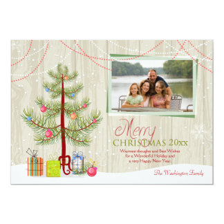 "Merry Christmas tree wood plank holiday photo card 5"" X 7"" Invitation Card"