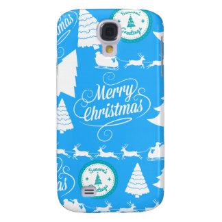 Merry Christmas Trees Santa Reindeer Teal Blue