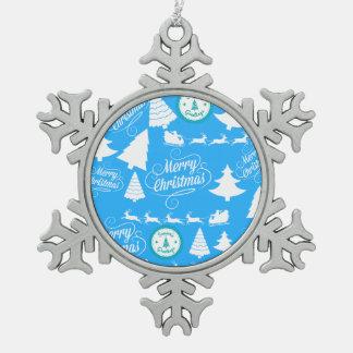 Merry Christmas Trees Santa Reindeer Teal Blue Pewter Snowflake Ornament
