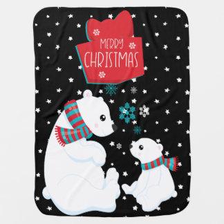 Merry Christmas Two Polar Bears Baby Blanket