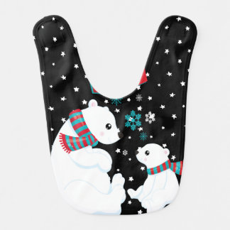 Merry Christmas Two Polar Bears Bib