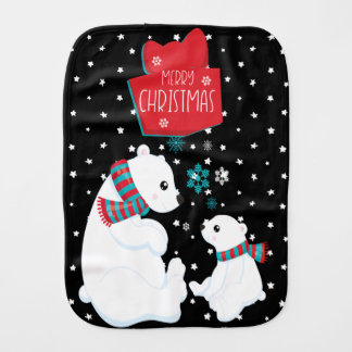 Merry Christmas Two Polar Bears Burp Cloth