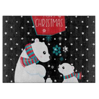Merry Christmas Two Polar Bears Cutting Board