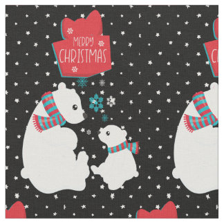 Merry Christmas Two Polar Bears Fabric