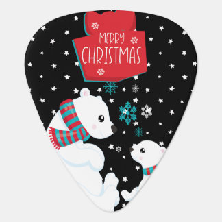 Merry Christmas Two Polar Bears Guitar Pick