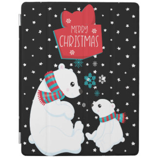 Merry Christmas Two Polar Bears iPad Cover