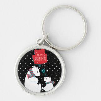 Merry Christmas Two Polar Bears Keychain