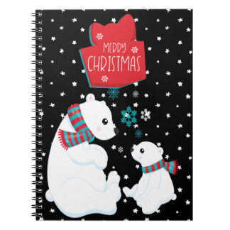 Merry Christmas Two Polar Bears Notebook
