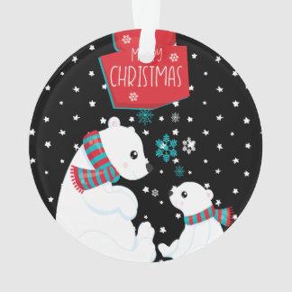 Merry Christmas Two Polar Bears Ornament