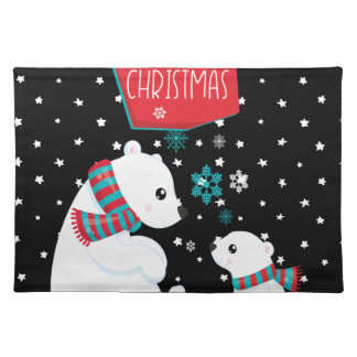 Merry Christmas Two Polar Bears Placemat