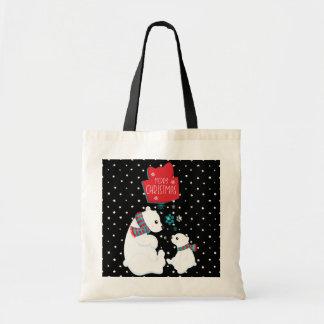 Merry Christmas Two Polar Bears Tote Bag