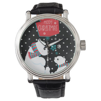 Merry Christmas Two Polar Bears Watch