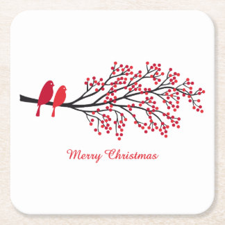 Merry Christmas, two red birds on winter tree Square Paper Coaster