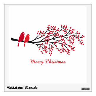 Merry Christmas, two red birds on winter tree Wall Sticker